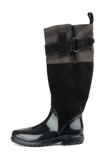 Burberry Check Suede Rain Boots
